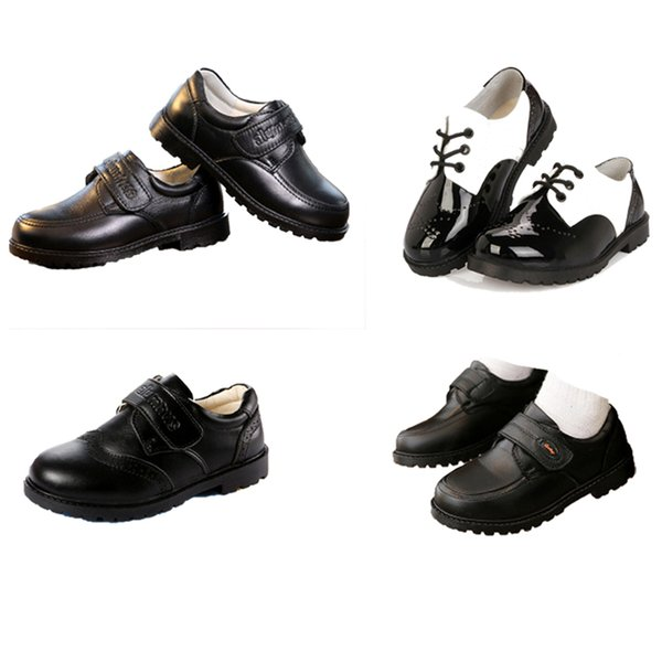 Kids Boy Leather Shoes Hook Strap Patent Leather Boys Shoes Letter Printed Ceremony Peform Shoes Party Casual Footwear 4-14T
