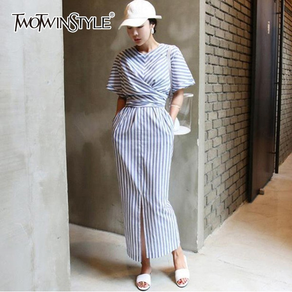 Twotwinstyle Striped Maxi Lace Up Dress Female Short Sleeve High Waist Cross Split Dresses For Women 2018 Autumn Fashion New Y19053001