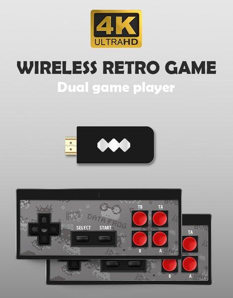 Console de jeu vidéo USB de poche Data Frog USB pour console de jeu intégrée au jeu classique 600 Console vidéo mini 8 bits Prise en charge AV / HDMI