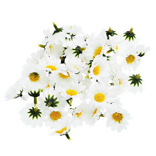 Artificial Flowers Daisy With Yellow Core Wedding Decoration Simulation Flower Home Decor for Scrapbooking Handicraft 500pcs 4cm