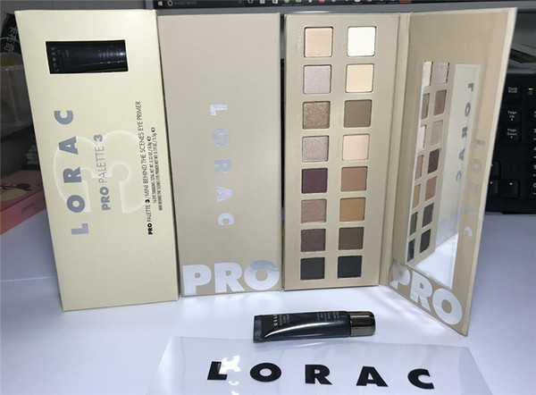 Maquillaje Lorac Pro 3 Eye Shadow Palette 16 colores Eyeshadow Primer! 1 pcs ePackt envío Dropshipping