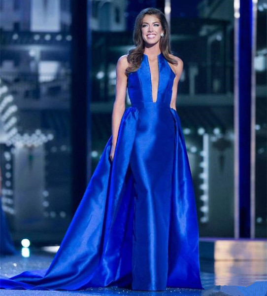 Royal Blue Satin Sheath Evening Dresses with Overskirts Sexy Plunging Neckline Prom Gowns Party Formal Bride Dress
