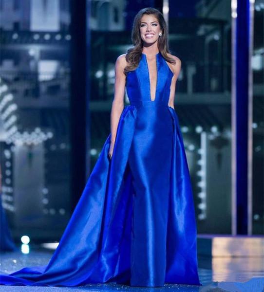 Royal Blue атласная оболочка Вечерние платья с Overskirts Sexy декольте Пром платья партии Формальные платье невесты