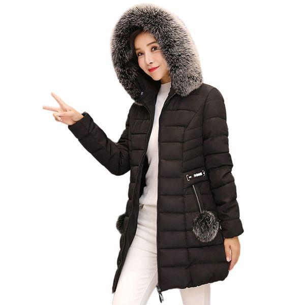 Hot Sale! trend high quality Women Hooded Outwear Warm Coat Long Thick Fur Collar Cotton Parka Slim Jacket Fashion Design