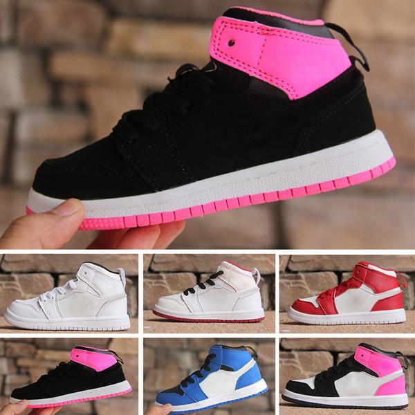 Дети спортивные дешевые 1 запрещен разводят Красный Чикаго OG кроссовки мальчики девочки баскетбольная обувь 1s ткачество кроссовки молодежь дети спортивная обувь EU28-35