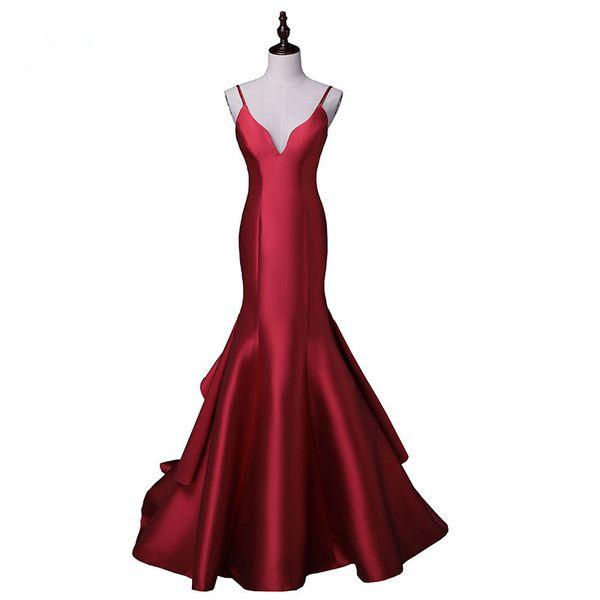New arrival sexy evening party Dresses satin long gown Vestido de Festa spaghetti V-neck sweep train dress