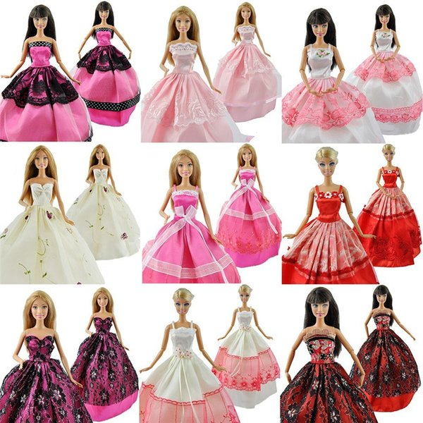 Princess Wedding Clothes for Barbie Handmade Lace Clothes Dresses Grows Outfit Doll for Barbie Kids Gift Baby Toys 5pcs