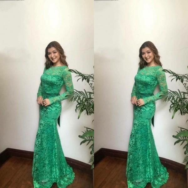 Spring 2019 Modest Long Sleeve Prom Dresses Mermaid Jewel Neck Fishtail Green Lace Formal Evening Gowns Mint Sage Emerald Green