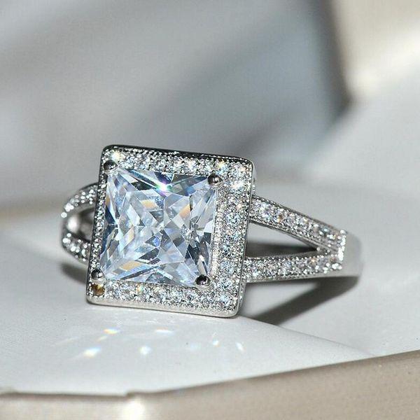 Women 925 Silver Jewelry Princess Cut Ruby Gorgeous Wedding Ring Size 6-10