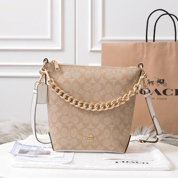 2020 hombres y mujeres de moda, mochila, bolso de cadena, bolso cubo, modelo 100% de cuero: Tamaño f45068: 27-24-9cm