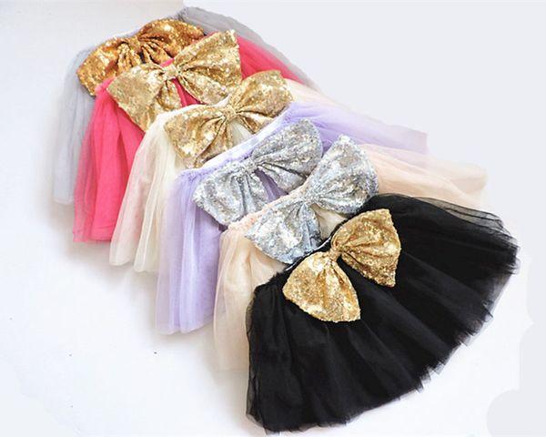 Girls Tutu Skirts Dance Dresses Tutu Dress Ballet Skirt Kids Gold Silver Sequin Big Bow Pettiskirt Clothes 2-7T dresses B11