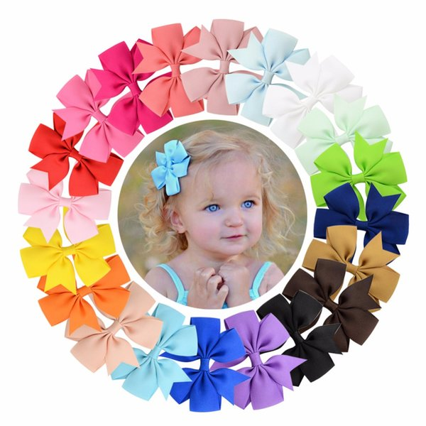 ( 100 pcs/lot) High Quality 3 inch Grosgrain Ribbon Boutique Bows With Clip Hairpins For Kids Girl Hair Accessories 564