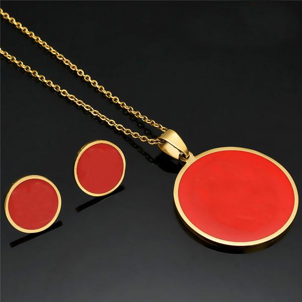 Gold Rund Bär Halsketten-Ohrringe Edelstahl-Schmuck-Geschenke für Frauen TZ5