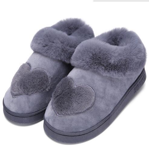 새로운 도착 심장 - 모양의면 여성 슬리퍼 따뜻한 봉제 겨울 모피 슬리퍼 소프트 실내 신발 홈 슬리퍼 플랫