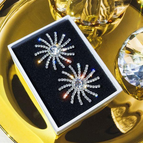 Bling Bling Strass Sonnenblume Bolzenohrring Frauen Sonnenblume Ohrring Gold Silber Modeschmuck für Geschenk Party Hohe Qualität