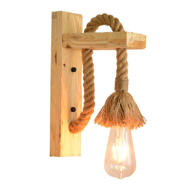 Retro lampada industriale annata canapa legno E27 parete luce Loft corda montato illuminazione del riparo al coperto Scale Soggiorno Lampade