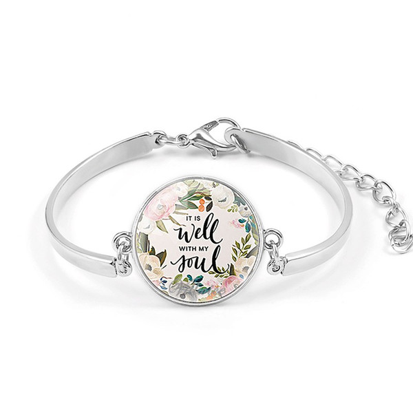 VILLWICE Fashion Psalm Bracelet Art Picture Print Glass Dome Charms Bracelet Bible Verse Quote Jewelry Gift For Christian