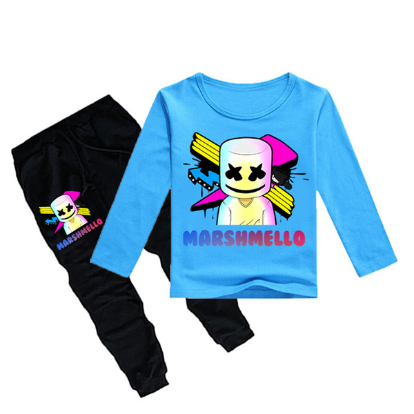 1-12Y Boys Girls long sleeves T-shirt + Trousers 2 Piece Sets DJ Marshmello Printed kids clothing sets kids designer clothes DHL JY110