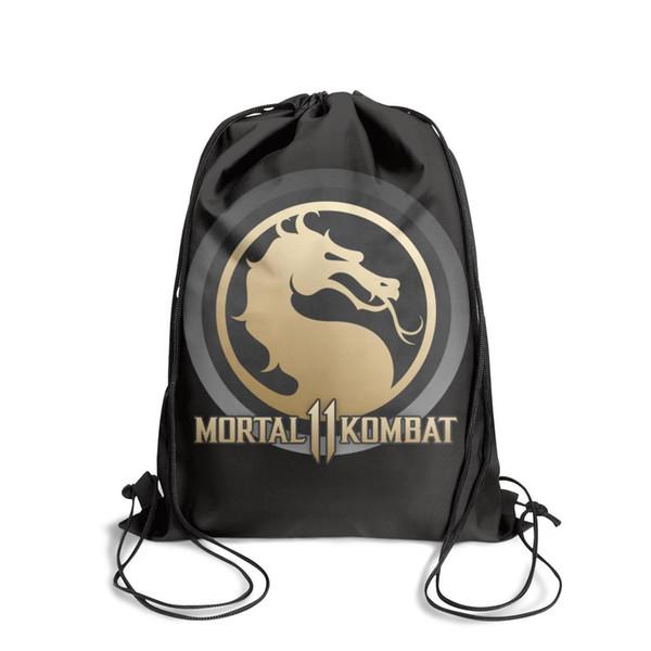Drawstring Sports Backpack Mortal Kombat 11 logo outdoor convenient Yoga Pull String Backpack