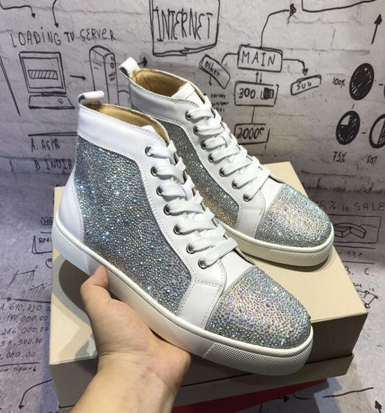 2019 para mujer para hombre Diseñadores de lujo Marca High Top Zapatos rojos inferiores Marca zapatillas de deporte casuales con la mejor calidad