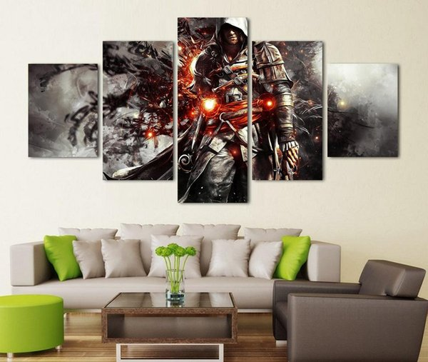 Assassins Black Flag,5 PiecesHome Decor HD Printed Modern Art Painting on Canvas (Unframed/Framed)