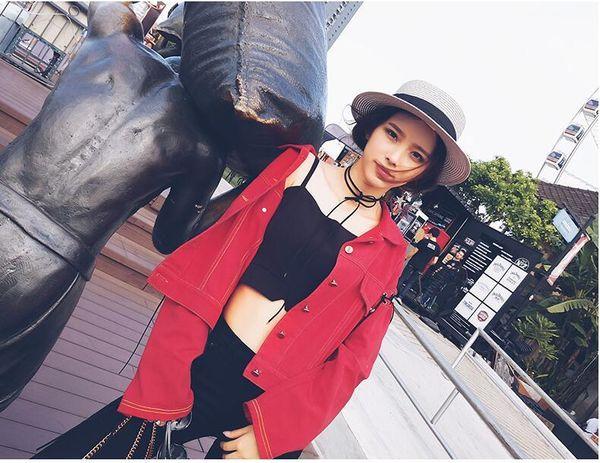 Moda-Ceket Kadınlar Kısa Kot Palto Bayan Ceket Yaka İnce kırmızı Jeans Üst İçin Kadınlar Yüksek Kalite Pablo Turn Down Tops