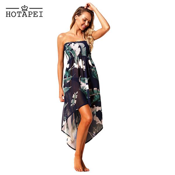 Hotapei Tropical Leaf Print Navy Convertible Beach Dress Women New Side Split Chiffon Pareo Saida De Praia Swimsuit Lc42278 Q190521