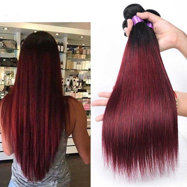 Schönheit brasilianische Glattes Haar Weave Bundles Nicht Remy Menschenhaar-1B / 99J Burgund Ombre Haar Bundles 26.8 Zoll
