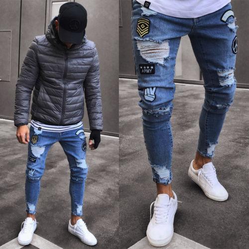Erkek Sıkı Yırtık Skinny Biker Jeans Yırtık Bantlanmış Slim Fit Denim Pantolon AU Tahrip