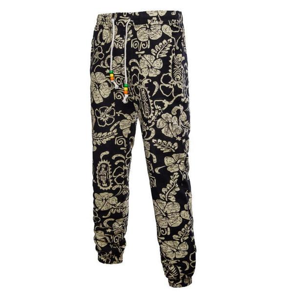 2019 Summer Style Mens Joggers Casual Pants M-5xl National Wind Printing Linen Skinny Men Trousers Flower Harem Sweatpants