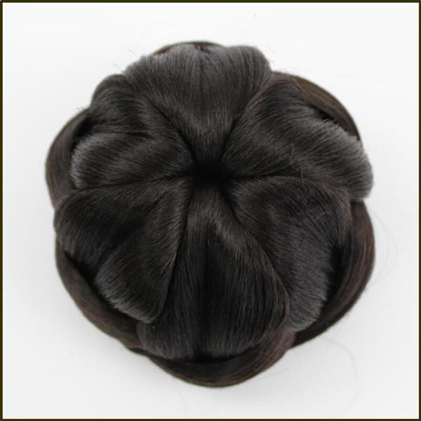Synthetic Hair Braided Chignon Clip In Hair Bun Womens Donut Roller Hair Piece High Temperature Fiber