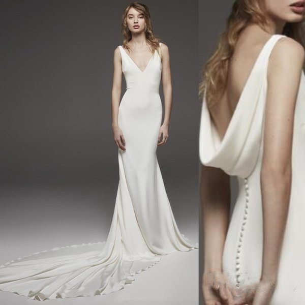 Simple Bohemian Mermaid Wedding Dresses Silk Satin Sexy V Neck Open Back Button Straps Beach Boho Bridal Gowns Long Train Wedding Dress