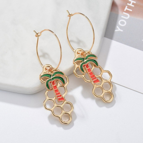 New Individuality Coconut Tree& Honeycomb Dangle Drop Earrings Jewelry Women Special Cute Party Decoration Earrings