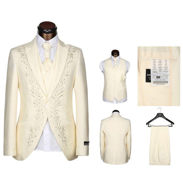 Bordado Noivo Smoking Padrinhos Bege Mens Vestido De Casamento Pico Lapela Homem Jaqueta Blazer Moda 3 Peça Terno (Jaqueta + Calça + colete + Gravata) 1566