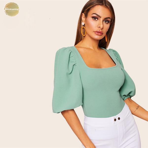 Elegante Puff Sleeve Solid Top elastica delle donne 2019 Estate mezza manica di base della cornice signore casuali collo quadrato Tops