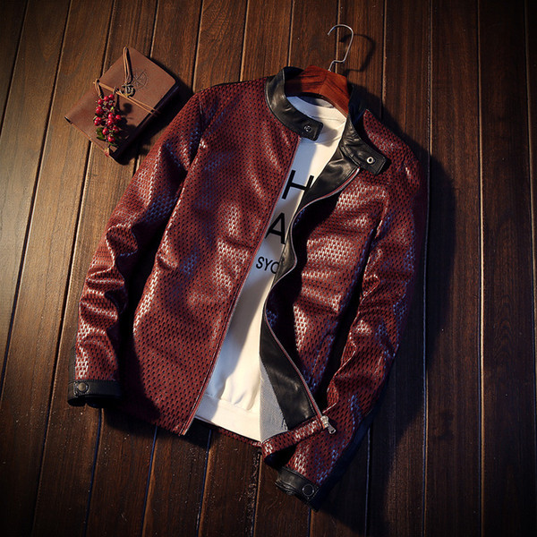 BDLJ 2018 Newest Leather Jacket PU Red Navy Blue Man Zipper Winter Motorcycle jaqueta de couro masculino Faux Leather Brand Coat