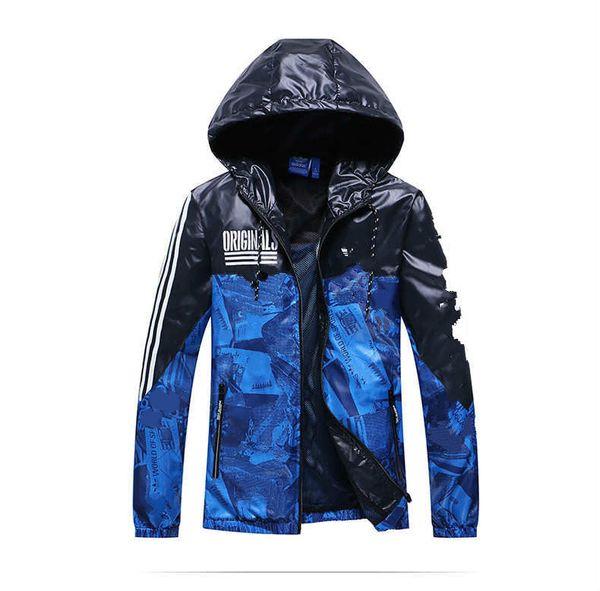 Mens Desigener Jacket Outerwear Coats Casual Fashion Running Long Sleeve Blue Windbreak Men Jacket Size S-2XL
