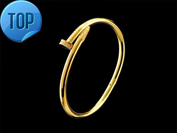 Top Quality Celebrity design Letter Metal Buckle Screws diamond bracelet Fashion Metal Cuff bracelet Gold Silver Jewelry With Box