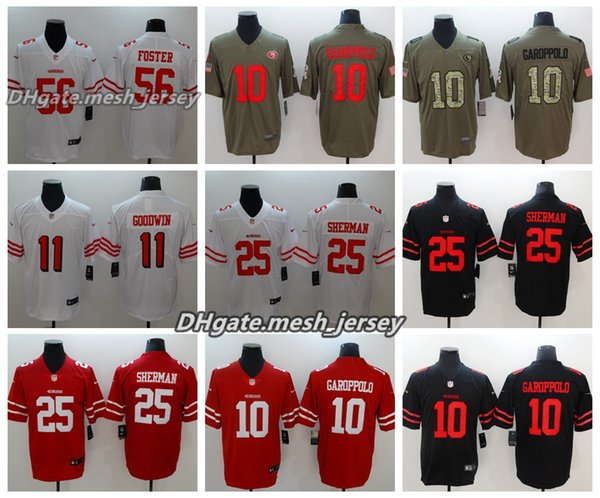 hot sale online 65d34 6238e Men San Francisco Jersey 49ers 10 Jimmy Garoppolo 11 Goodwin 25 Richard  Sherman 28 McKinnon 56 Reuben Foster Color Rush Football Jerseys UK 2019  From ...