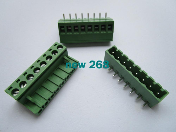 Freeshipping 30 Pcs Close Angle 8 pin/way Pitch 5.08mm Screw Terminal Block Connector Green Color Pluggable Type With Angle pin