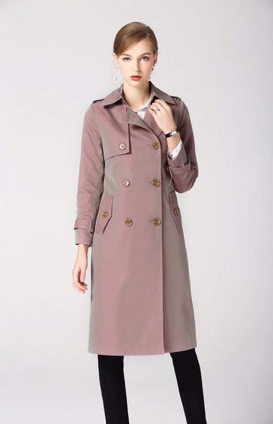 women's trench coats gabardine long windbreaker belt waterproof new english style autumn winter solid color british double breasted 96z