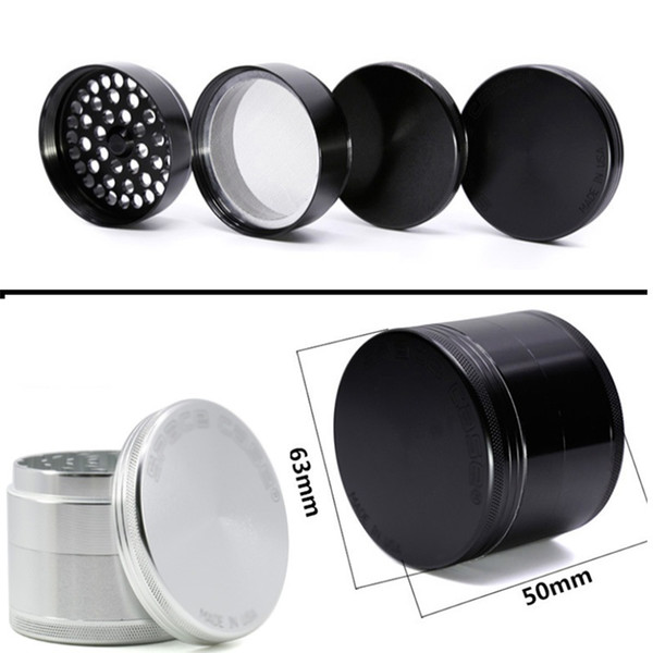 63mm Aluminum space case Grinder Tobacco Smoke Cigarette Detector Grinding 4 layer Smoke Tobacco Grinder Fit Dry Herb Black/Silver AN2219