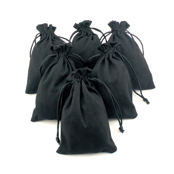 10pcs Black Silk Cloth Flannelette Suede Jewelry Soft Velvet Packing Scald Golden Pouch Christmas Travel Cosmetic Gift Bags