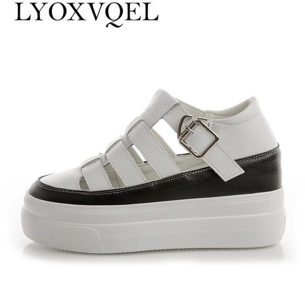 Moda Gladyatör Kadın Sandalet Hakiki Deri Platformları Ayakkabı Takozlar Bayanlar Sandalet Açık kadın Yaz Ayakkabı Ayakkabı M439