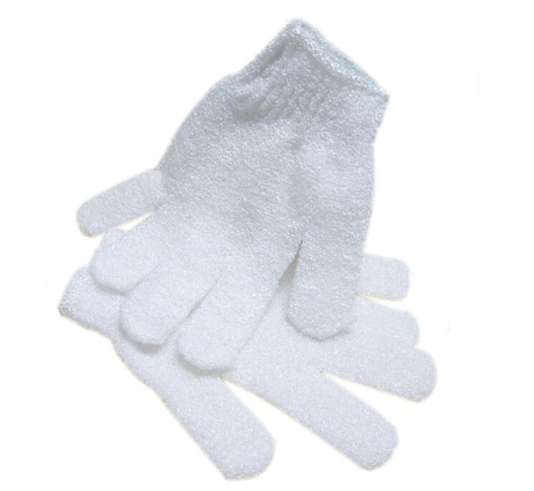 White Nylon Body Shower Bath Gloves Exfoliating Bath Glove Body Scrubber Glove Body Spa Massage Dead Skin Cell Remover