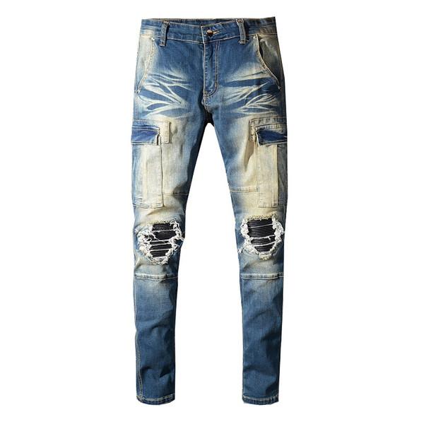Sokotoo Jeans da uomo con tasche e patchwork in pelle sintetica biker Pantaloni cargo in denim stretch strappati con buchi neri Pantaloni lunghi
