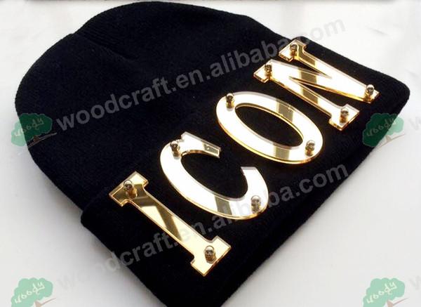 Benutzerdefinierte Kappen Arylic ICON benutzerdefinierte Buchstaben des Hutes 3d Stud Rivet Hip Hop Hat Beanies Strickmützen
