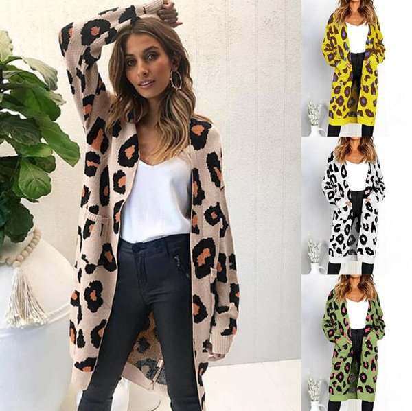 Leopard Printed Cardigan Sweater 21 Styles Women Autumn Winter Long Sleeve Knitwear Pocket Open Stitch Sweater Tops Home Clothing 30 OOA6025
