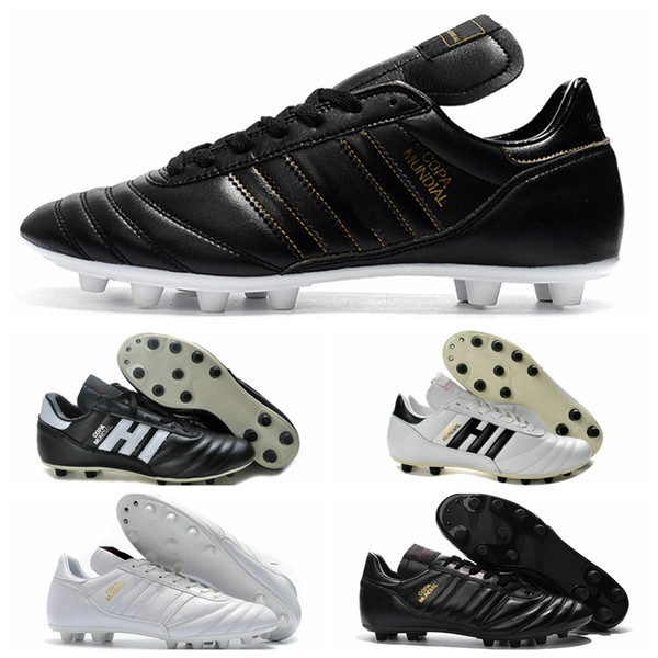 top popular Copa Mundial Leather Mens FG Soccer Cleats 2015 World Cup chaussures de Football Boots Black White Orange botines futbol taquets Shoes 2020