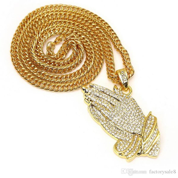 2017 New Silver Praying Hands Hiphop Bling Necklace Mens 18k Gold Religous Jewlry Iced Out Prayer Jesus Women Men Gift Plating DHL